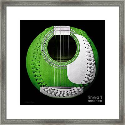 Green Guitar Baseball White Laces Square Framed Print by Andee Design