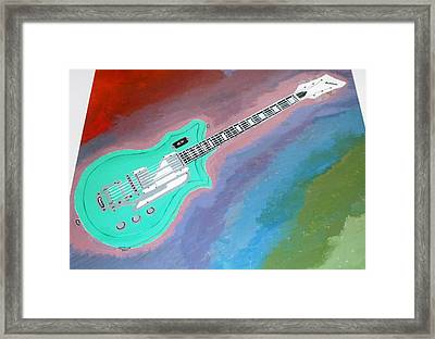Green Guitar Framed Print