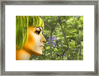 Green Hair And Jacaranda  Framed Print