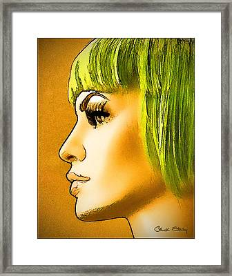 Green Hair Framed Print by Chuck Staley