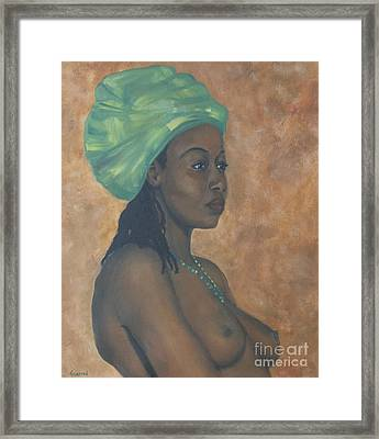 Green Headwrap Framed Print by Dwayne Glapion