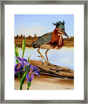 Framed Print featuring the painting Green Heron Dance by Phyllis Beiser