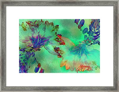 Green Hibiscus Mural Wall Framed Print