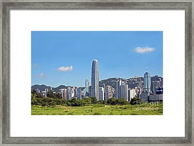 Green Hong Kong Skyline Framed Print by Lars Ruecker