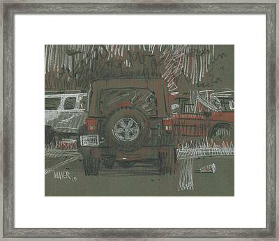 Framed Print featuring the painting Green Jeep by Donald Maier