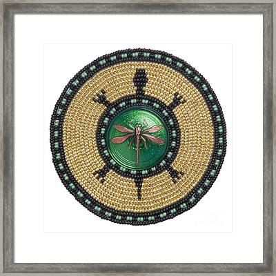 Green Jewel Dragonfly Turtle Framed Print