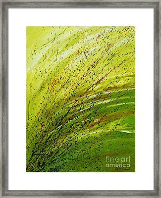 Framed Print featuring the painting Green Landscape - Abstract Art  by Ismeta Gruenwald