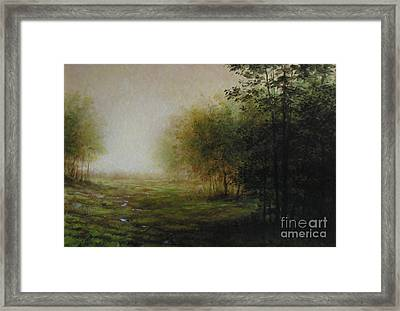 Green Framed Print by Lawrence Preston