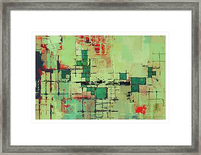 Green Lattice Abstract Art Print Framed Print by Karyn Lewis Bonfiglio