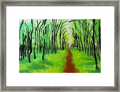 Framed Print featuring the painting Green Leaves by Marisela Mungia