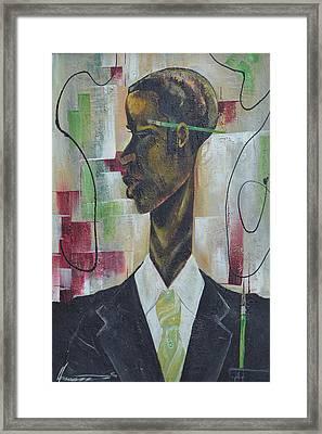 Green Light Green Stripe Framed Print by Hasaan Kirkland