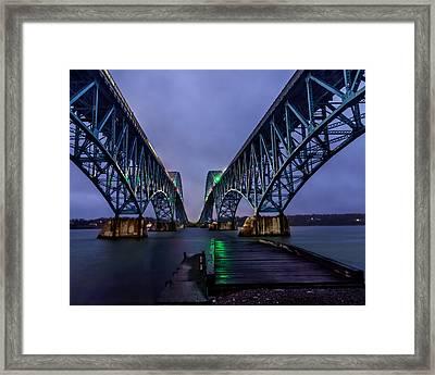 Green Light On The Pier Below Twin Spans On A Misty Dawn Framed Print