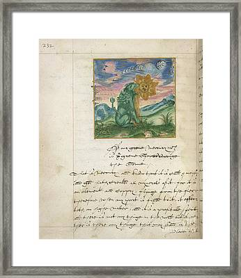 Green Lion Devouring The Sun Framed Print by British Library