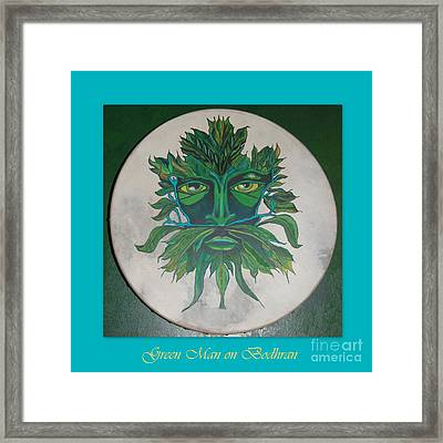 Framed Print featuring the painting Green Man On Bodhran by Linda Prewer