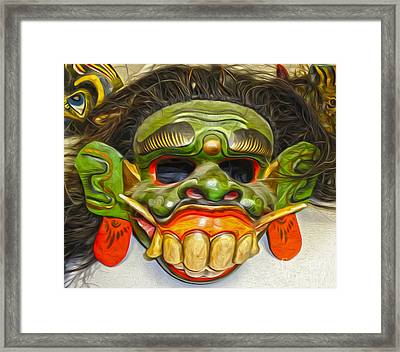 Green Mask Framed Print by Gregory Dyer