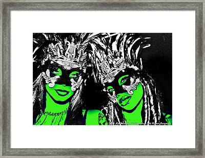 Green Mask  Framed Print by Ley Clarie Gray