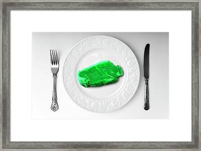 Green Meat On White Plate Framed Print