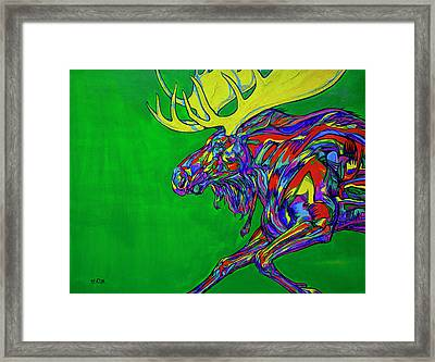Green Mega Moose Framed Print by Derrick Higgins