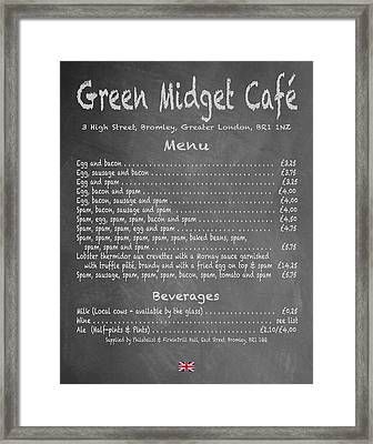 Green Midget Cafe Chalkboard Menu Framed Print