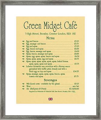 Green Midget Cafe Menu Parchment Framed Print