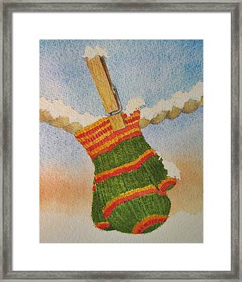 Green Mittens Framed Print by Mary Ellen Mueller Legault