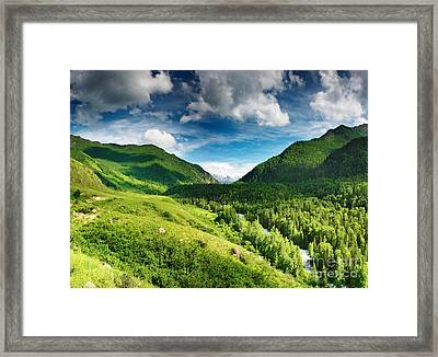 Green Mointain Framed Print by Boon Mee