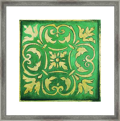 Green Mosaic Framed Print by Patricia Pinto