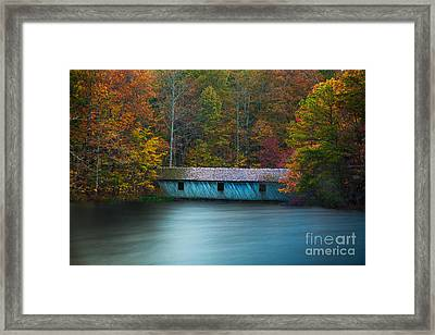 Framed Print featuring the photograph Green Mountain Covered Bridge Huntsville Alabama by T Lowry Wilson