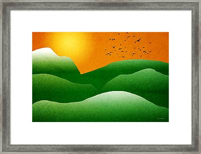Green Mountain Sunrise Landscape Art Framed Print by Christina Rollo