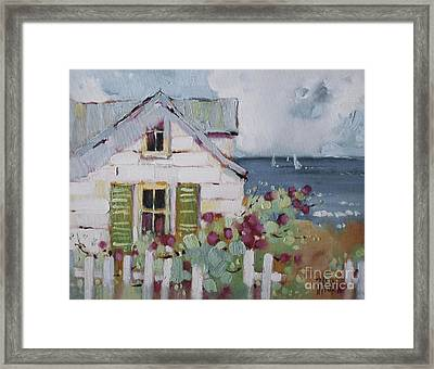 Green Nantucket Shutters Framed Print by Joyce Hicks