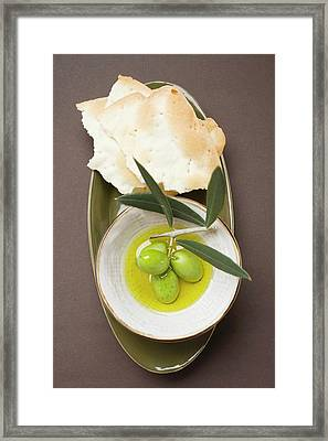 Green Olives On Twig In Bowl Of Olive Oil, Crackers Framed Print