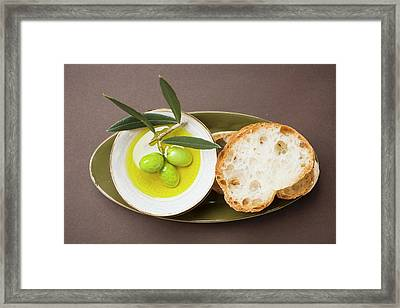 Green Olives On Twig In Bowl Of Olive Oil, White Bread Framed Print