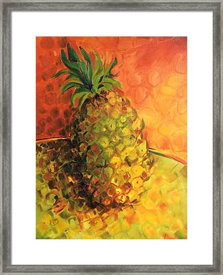 Green Orange Pineapple Framed Print