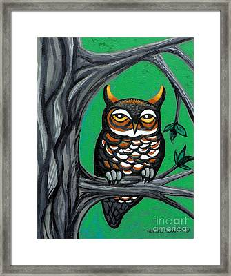Green Owl Framed Print by Genevieve Esson