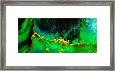 Green Panoramic Horizontal Abstract Art Lifeline By Kredart Framed Print