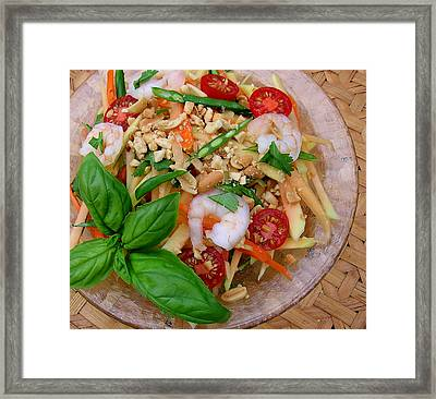 Green Papaya Salad With Shrimp Framed Print by James Temple