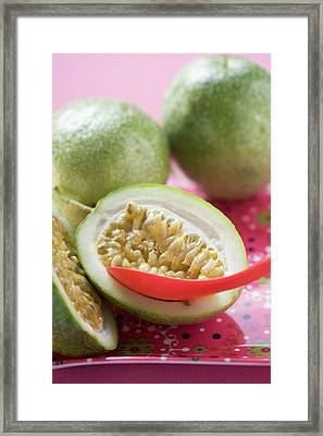 Green Passion Fruits, One Halved, With Spoon Framed Print