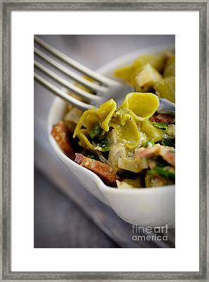 Green Pasta With Vegetables Framed Print by Mythja  Photography