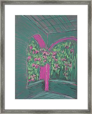 Green Patio Framed Print by Marcia Meade