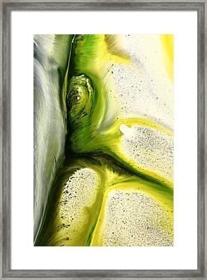 Green Peacock Feather Abstract Wall Art By Kredart Framed Print