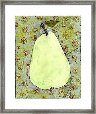 Green Pear Art With Swirls Framed Print