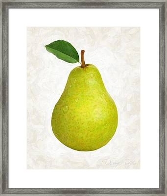 Green Pear Isolated Framed Print