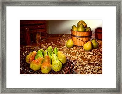 Green Pears In Rustic Basket Framed Print