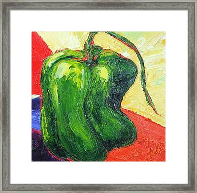 Green Pepper Framed Print by Paris Wyatt Llanso