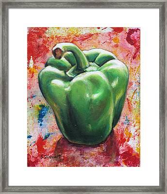 Green Pepper Framed Print by Sheila Diemert
