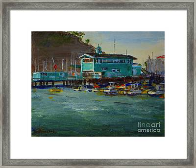 Green Pier Early Evening Framed Print by Joan Coffey
