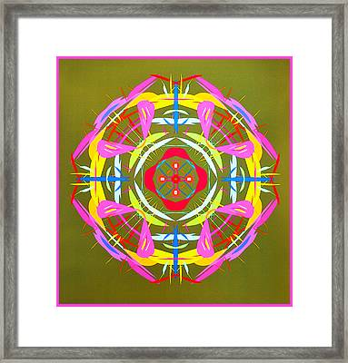 Green Pink Yellow Abstract Framed Print