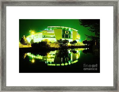 Green Power- Autzen At Night Framed Print by Michael Cross