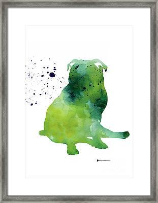 Green Pug Dog Watercolor Art Print Painting Framed Print