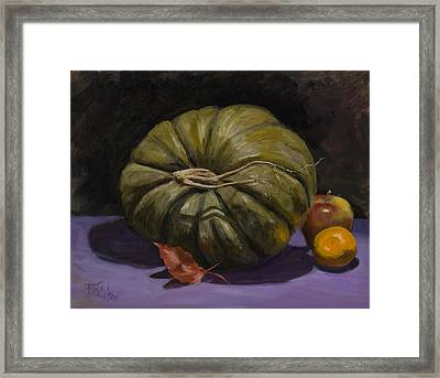 Green Pumpkin With Friends Framed Print by Billie Colson